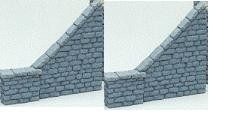 4190 Retaining Wall Stone Block W// Wings HO Scale